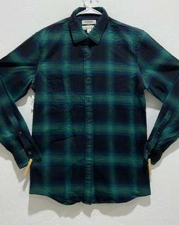 NWT Men's Goodthreads Brushed Flannel Slim Shirt Size M Long