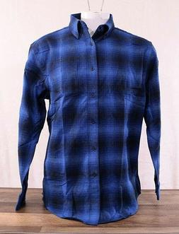 NWT Pendleton Men's Cotton Mason Flannel Shirt Button-up Blu