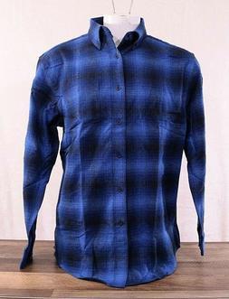 NWT Pendleton Men's Cotton Mason Flannel Shirt Button-up Blu