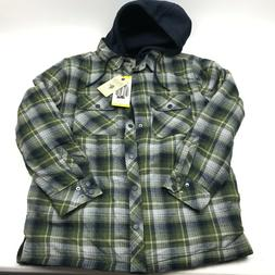 NWT Men's Boston Traders Hooded Flannel Shirt Jacket w/Quilt