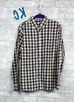 NWT Men's Long Sleeve Sz S Gingham Checked Plaid Button Down