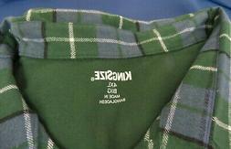 NWT Men's LS Flannel Plaid Shirt Size 4XL; 100% cotton; blue