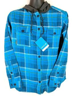 NWT Columbia Men's Size Small S Blue Flannel Button Hoodie L
