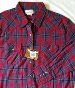 NWT! Men's Wrangler Wrancher Flannel  Shirt Red/Blue Plaid S