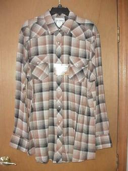 NWT MEN'S X-LARGE TALL XLT LS FLANNEL WRANGLER WESTERN BUTTO