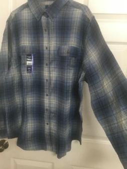 NWT~Mens 2XL Flannel Shirt~blue Plaid~long Sleeves~cotton~Ge
