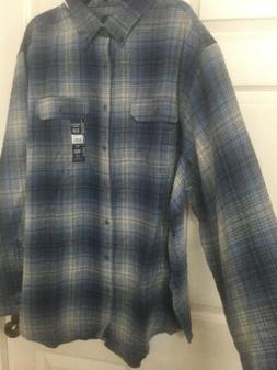 NWT~Mens 3XL Flannel Shirt~blue Plaid~long Sleeves~cotton~Ge
