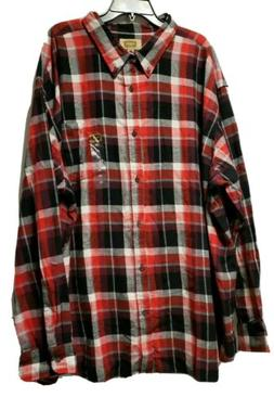 NWT Mens FOUNDRY Big & Tall FLANNEL SHIRT Size 4XL Red and B