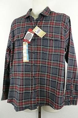 NWT Woolrich Mens Button Front Long Sleeve Red/Gray Plaid Fl
