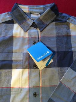 NWT Columbia Men's Flannel Shirt Blue Plaid Brand New 100%