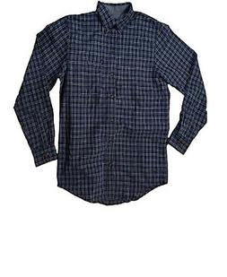NWT Mens G.H. Bass & Co Blue Plaid L/S Flannel Shirt Size L