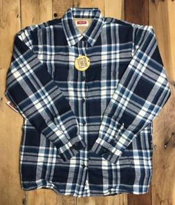 NWT Wrangler Mens Sherpa Lined Flannel Shirt Jacket Blue Pla