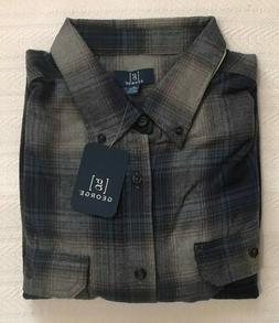 NWT Mens Shirt FLANNEL Size XL Blue Gray PLAID Long Sleeve R
