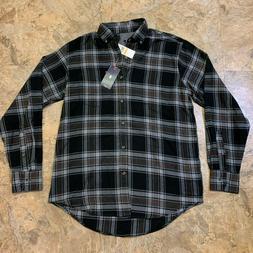 NWT Mens Size Small Izod Flannel Shirt Long Sleeve Plaid Bla
