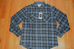NWT Mens WEATHERPROOF Vintage LS Dark Blue Plaid Flannel Shi