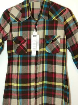 nwt mens xl brown red plaid flannel