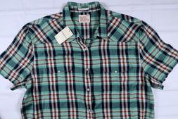 NWT LUCKY BRAND MENS XL TWILL FLANNEL WESTERN SHORT SLEEVE P
