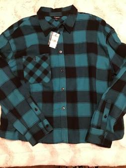 NWT New Women's Express Size Large Cropped Plaid Flannel Shi