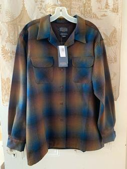 NWT NEW PENDLETON WOOL OMBRE PLAID MENS BOARD SHIRT SIZE LAR