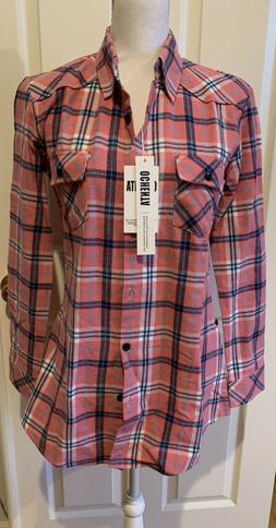 NWT OCHENTA Women's Pink Long Sleeve Plaid Flannel Shirt