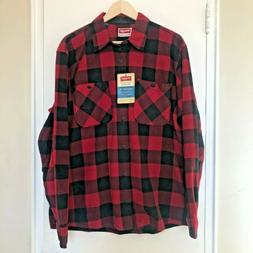 NWT Wrangler Red Plaid Fleece Flannel Long Sleeve Button Dow