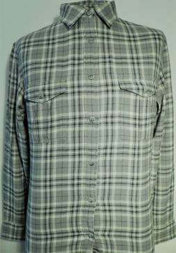 NWT Top Drawer, Sage Grey Plaid, Soft Cotton Flannel 2 Pocke