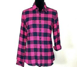 NWT Alexander Del Rossa Top Pink Navy Blue Flannel Plaid Shi