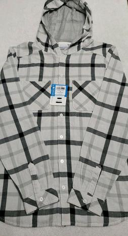 NWT COLUMBIA Womans Medium Black White Plaid Meander  Hooded