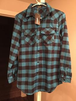 NWT Womens Flannel Plaid Shirt Long Sleeves Blue Small