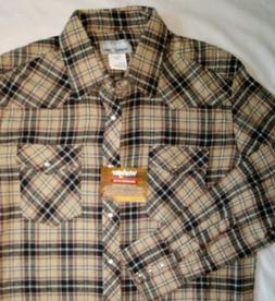 NWT! Wrangler Wrancher Red/Tan/Black Plaid Pearl Snap Flanne