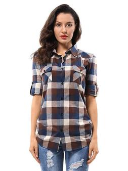 OCHENTA Women's Long Sleeve Plaid Flannel Shirt
