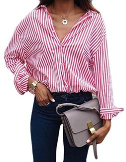 Fulok Womens Fashion Office Striped Lapel Button Down Top T-