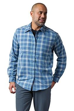 ExOfficio Men's Okanagan Macro Check Long Sleeve, Blue Lake,