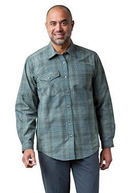 ExOfficio Men's Okanagan Mini Check Long Sleeve, Timberline,