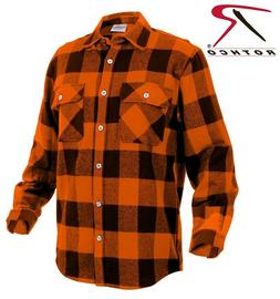 Orange Plaid Men's Heavyweight Brawny Buffalo Flannel Shirt