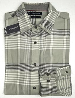 Orig $79 Nautica Gray Plaid Flannel LS Shirt Mens Size XL 10