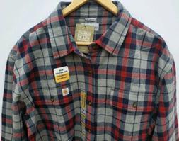 Carhartt Original Fit Mens Heavy Flannel Shirt Red Gray Plai