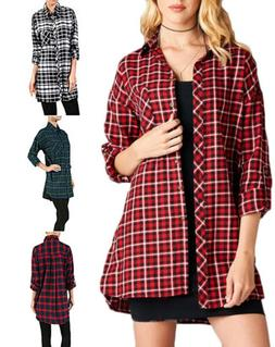 Oversize Roll-Tab-Sleeve Plaid Cotton Flannel Button Down Lo