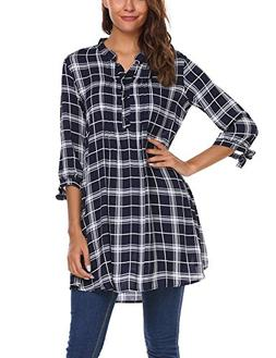 Zeagoo Women's Oversized Boyfriend Shirt Casual Loose Top Bl