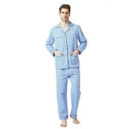 Pajamas for Men, 100% Cotton Fleece Pj Set with Elastic Pant