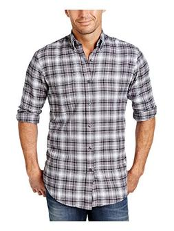 John Ashford Mens Palatine Flannel Plaid Button-Down Shirt G