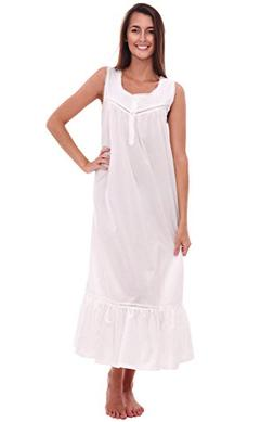 Alexander Del Rossa Womens Patricia Cotton Nightgown, Long V