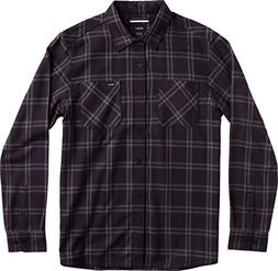 RVCA Men's Payne Flannel Shirt, Pirate Black, Small