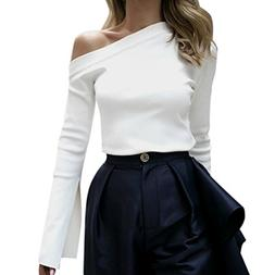 Pengy Women Sexy Slash Neck Off Shoulder Flared Long Sleeve