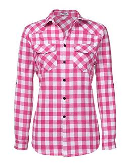 Zeagoo Womens Pink Plaid Shirt, Roll up Sleeve Casual Boyfri