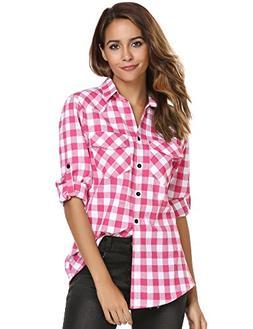 Zeagoo Womens Pink Plaid Shirt, Roll up Sleeve Casual Boyfri