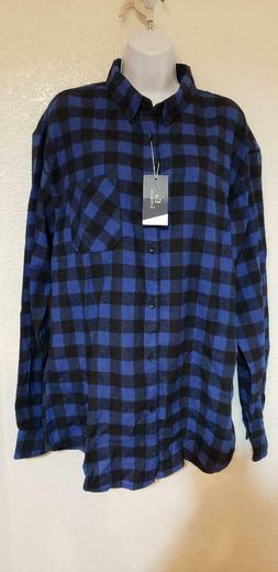 Emiqude plaid button down flannel XXL blue