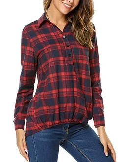 Zeagoo Women's Plaid Button Long Sleeve Casula Shirt Pullove