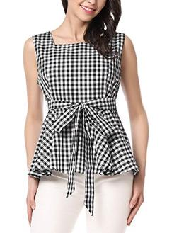 Zeagoo Women Plaid Checkerboard Sleeveless Tank Top Slim Shi