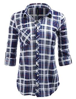 JJ Perfection Womens Plaid Collared Full Button Down Rollabl